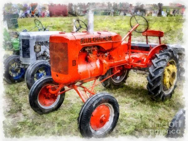 Best Selling Photograph - Vintage Allis-chalmers Tractor Watercolor by Edward Fielding