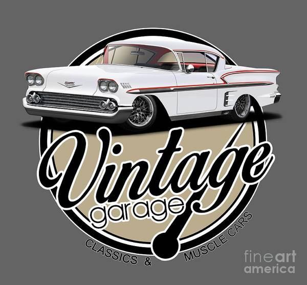 Wall Art - Digital Art - Vintage American Garage by Paul Kuras