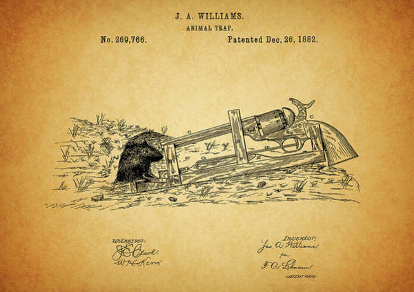 Wall Art - Drawing - Vintage Animal Trap Patent by Dan Sproul