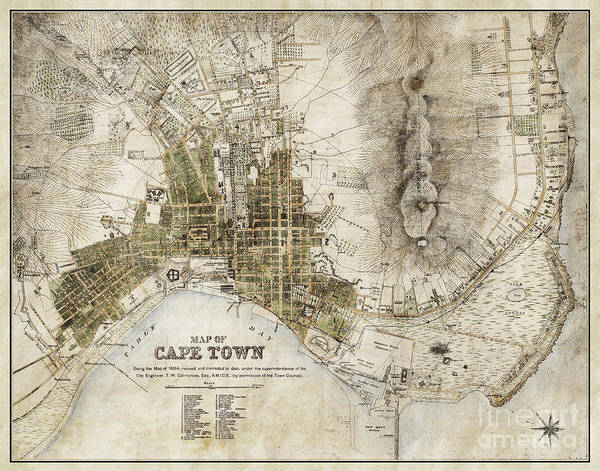 Road Map Photograph - Vintage Antique Cape Town South Africa City Map by ELITE IMAGE photography By Chad McDermott