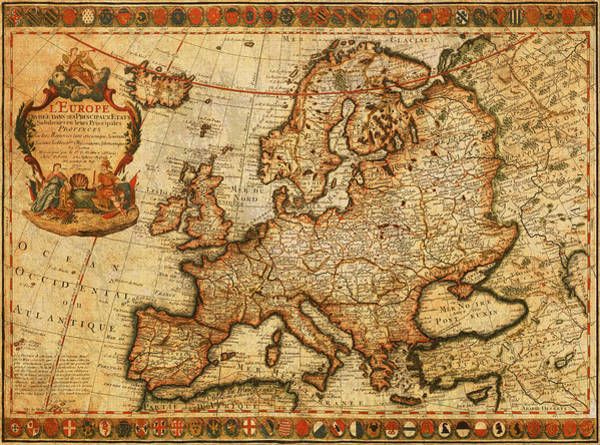 Belgium Mixed Media - Vintage Antique Map Of Europe French Origin Circa 1700 On Worn Distressed Parchment Canvas by Design Turnpike