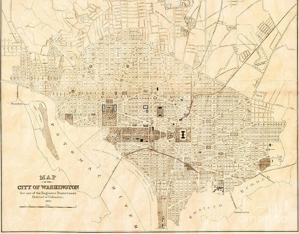 Cartography Photograph - Vintage Antique Washington Dc City Map by ELITE IMAGE photography By Chad McDermott