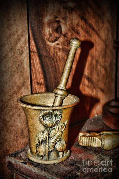 Wall Art - Photograph - Vintage Apothecary Mortar And Pestle by Paul Ward
