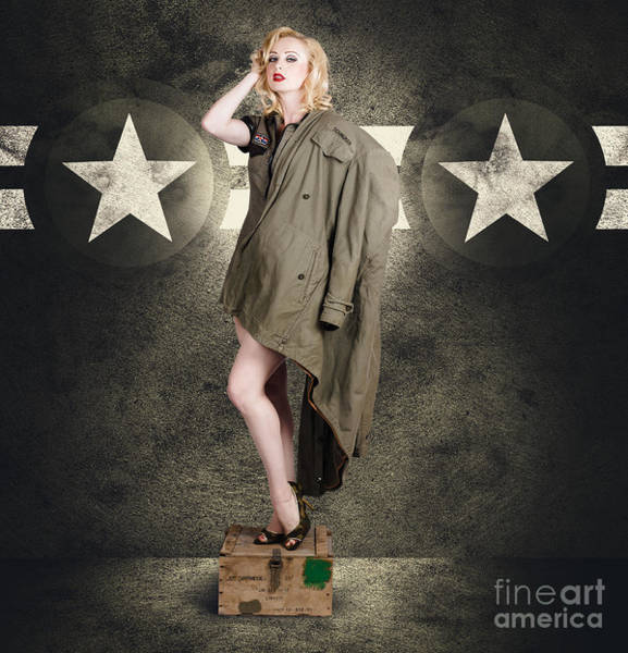 Ammo Photograph - Vintage Army Pinup Woman In Military Fashion by Jorgo Photography - Wall Art Gallery