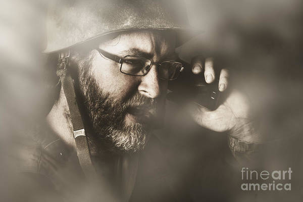 Wall Art - Photograph - Vintage Army Soldier With Modern Mobile Technology by Jorgo Photography - Wall Art Gallery