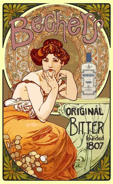 Painting - Vintage Art Nouveau Bechers Original Bitter 1807 by Joy of Life Art Gallery Alphonse Mucha