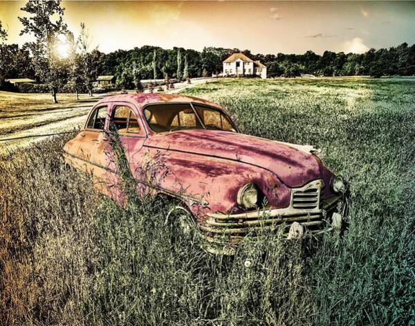 Photograph - Vintage Auto In A Field by Digital Art Cafe