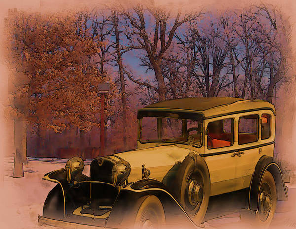 Digital Art - Vintage Auto In Winter by Tristan Armstrong