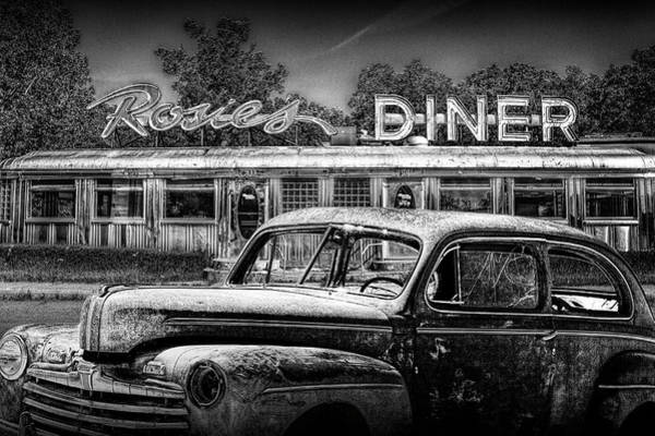 Photograph - Vintage Automobile Langishing With Historic Rosie's Diner by Randall Nyhof