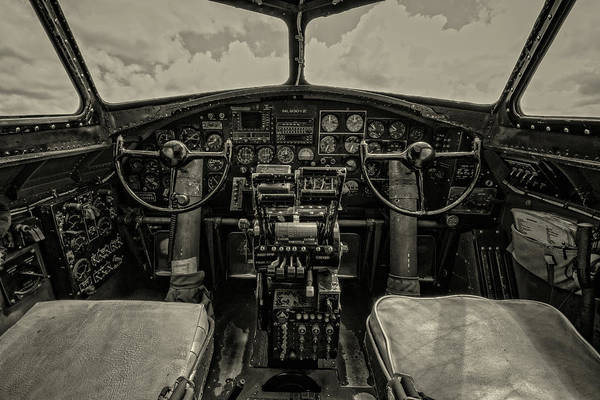 Wall Art - Photograph - Vintage B-17 Cockpit by Mike Burgquist