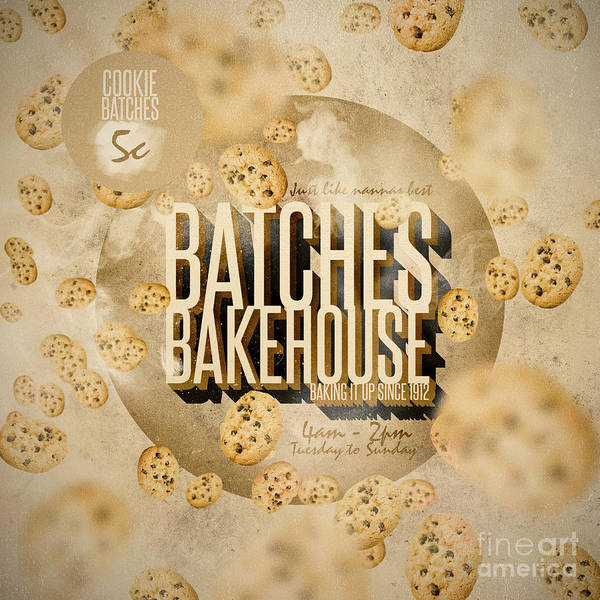 Digital Art - Vintage Bakery Ad - Batches Bakehouse by Jorgo Photography - Wall Art Gallery