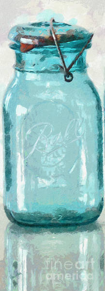 Lid Painting - Vintage Ball Blue Fruit Canning Jar by Anne Kitzman