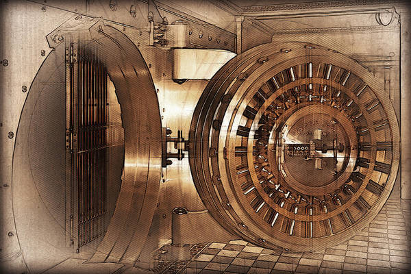 Digital Art - Vintage Bank Vault Door And Lock No. 1  by Serge Averbukh