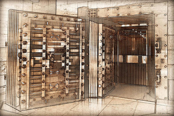 Digital Art - Vintage Bank Vault Door And Lock No. 2  by Serge Averbukh