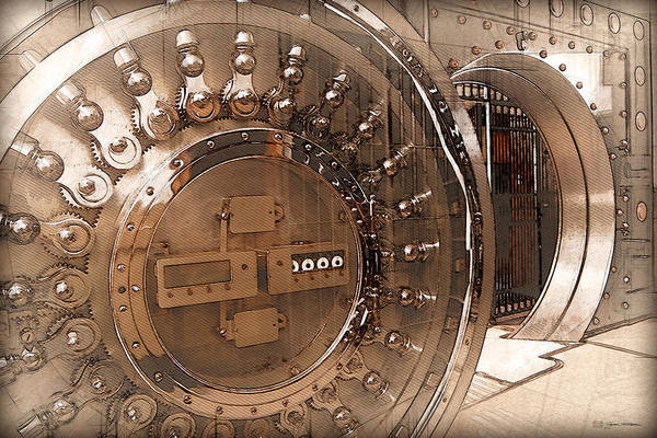 Digital Art - Vintage Bank Vault Door And Lock No. 3  by Serge Averbukh