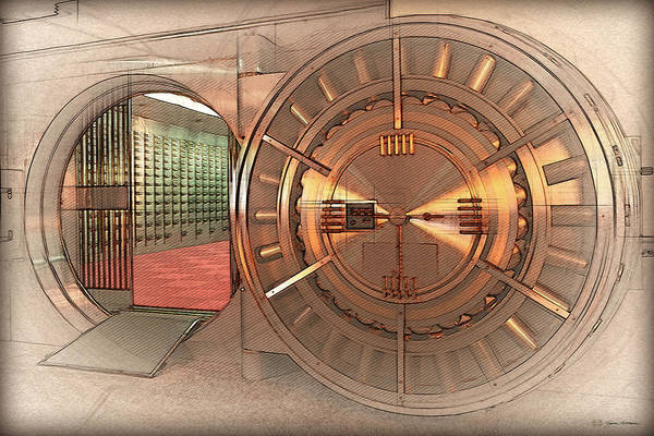 Digital Art - Vintage Bank Vault Door And Lock No. 4  by Serge Averbukh
