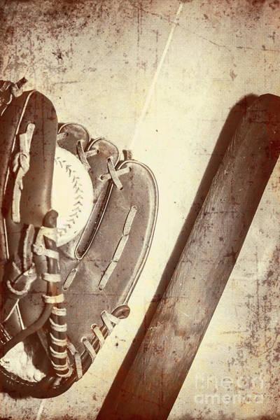 Memory Game Photograph - Vintage Baseball Bat Mitt And Ball by Jorgo Photography - Wall Art Gallery