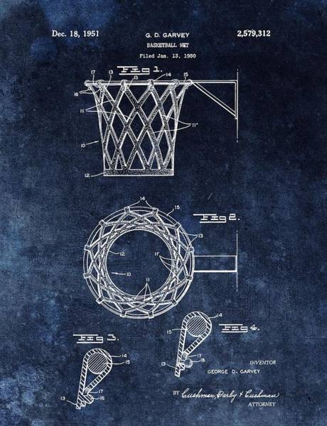 Nba Drawing - Vintage Basketball Net Patent by Dan Sproul