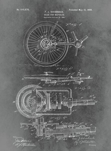 Drawing - Vintage Bicycle Gear Patent by Dan Sproul