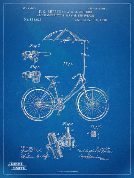 Wall Art - Digital Art - Vintage Bicycle Parasol Patent Artwork 1896 by Nikki Marie Smith