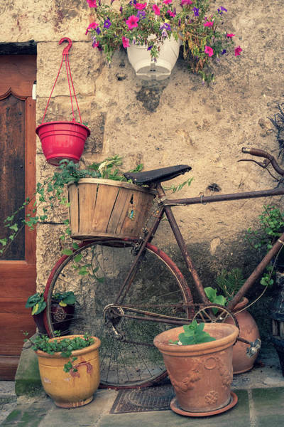 Vintage Bicycle Used As A Flower Pot, Provence Art Print