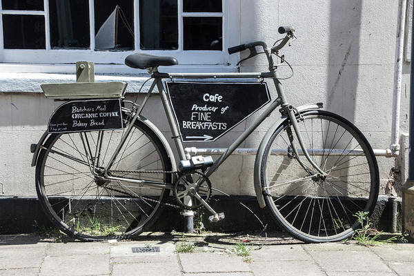 Vintage Conway Photograph - Vintage Bicycle With Advertising Sign For Breakfast And Cafe. by Tom Conway
