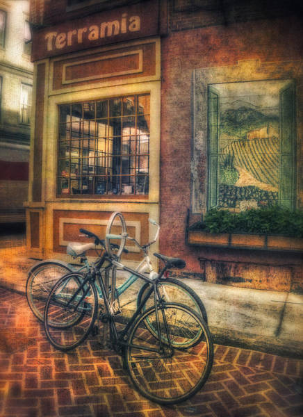 Photograph - Vintage Bicycles On Sidewalk Corner - Boston North End by Joann Vitali