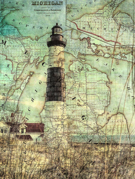 Mixed Media - Vintage Big Sable Lighthouse Michigan Map by Dan Sproul
