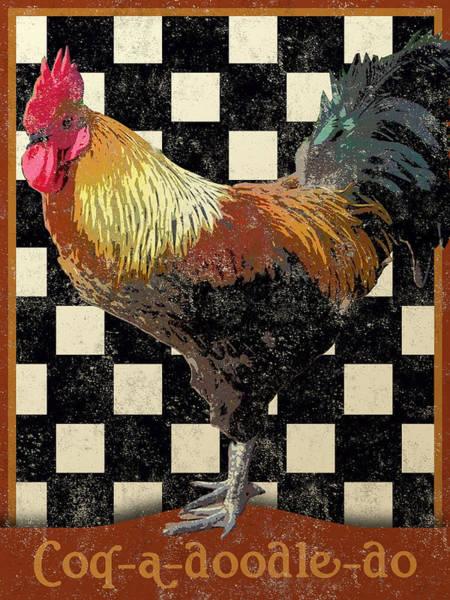 Rooster Digital Art - Vintage Bistro Rooster by Flo Karp