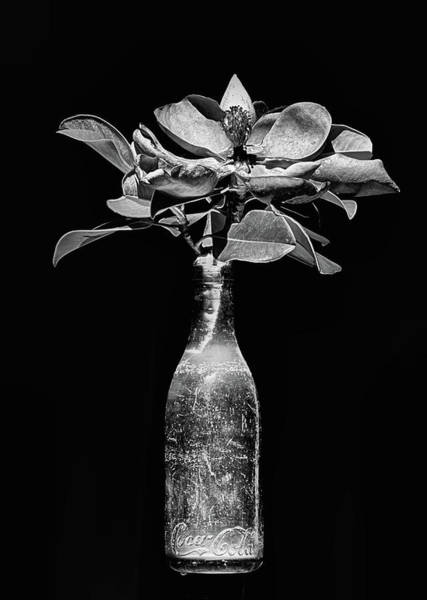 Photograph - Vintage Black And White Coke Bottle by JC Findley
