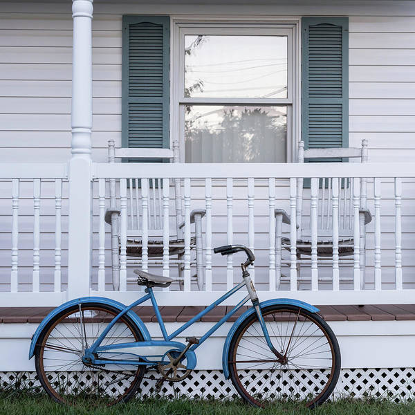 Photograph - Vintage Blue Bicycle Square by Terry DeLuco