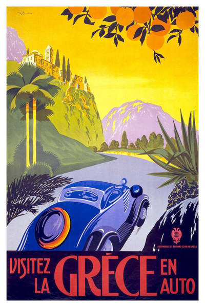 Kunst Wall Art - Painting - Vintage Blue Car In A Countryside Landscape In Greece - Vintage Travel Poster by Studio Grafiikka