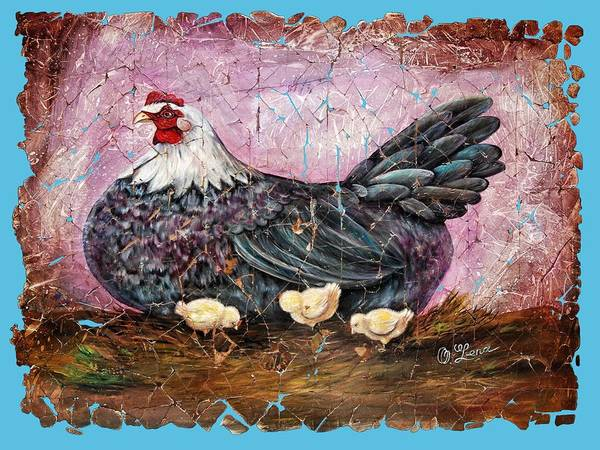 Digital Art - Vintage Blue Hen With Chicks Fresco  18x24 by OLena Art - Lena Owens