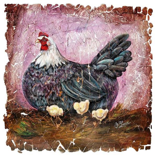 Digital Art - Vintage  Blue Hen With Chicks Fresco by OLena Art - Lena Owens