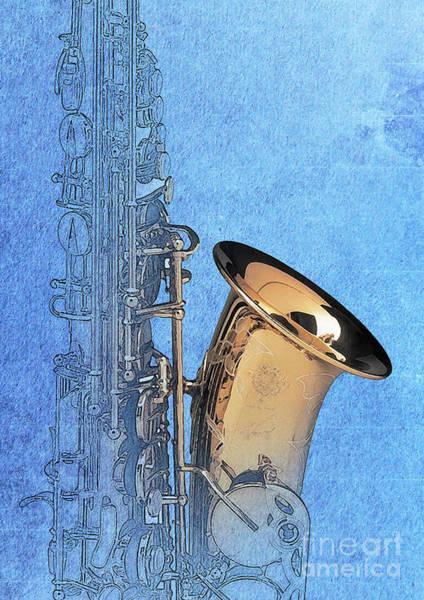 Sax Drawing - Vintage Blue Saxophone by Drawspots Illustrations