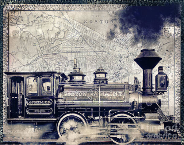 Trains Painting - Vintage Boston Railroad by Mindy Sommers
