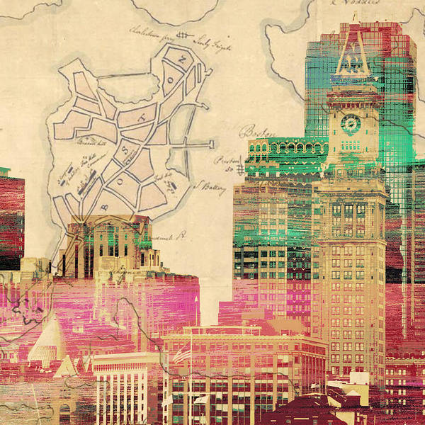 Wall Art - Digital Art - Vintage Boston Skyline by Brandi Fitzgerald
