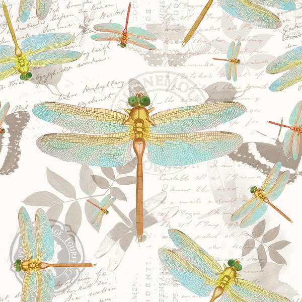 Jade Mixed Media - Vintage Botanicals Collection Dragonflies On The Wing by Tina Lavoie