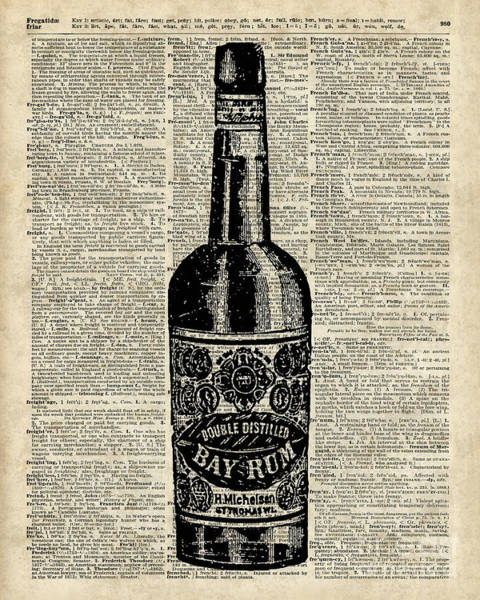 Page Mixed Media - Vintage Bottle Of Rum Over Antique Book Page by Anna W