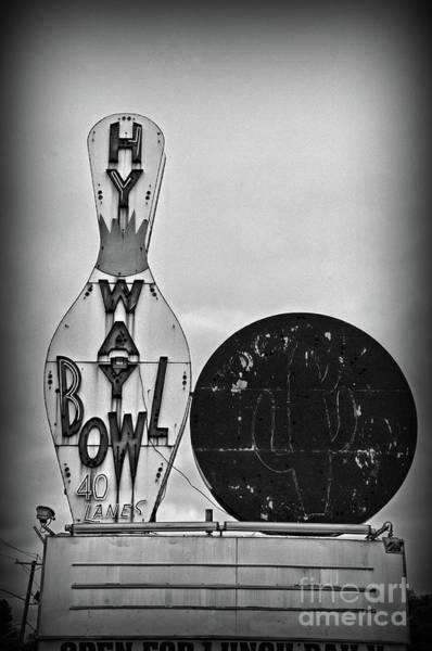 Cocktail Lounge Photograph - Vintage Bowling Sign Black And White by Paul Ward