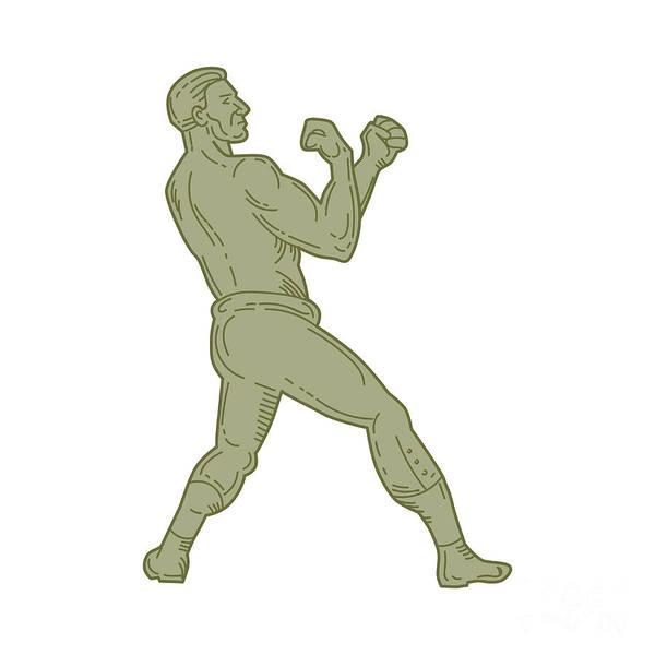 Sportsman Digital Art - Vintage Boxer Fighting Stance Mono Line by Aloysius Patrimonio