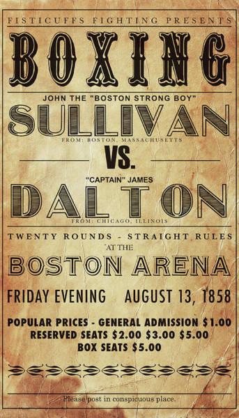 Wall Art - Photograph - Vintage Boxing Poster John L Sullivan Vs James Dalton by Bill Cannon