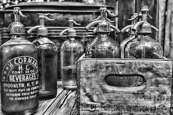 Wall Art - Photograph - Vintage Brooklyn Ny Seltzer Bottle Black And White by Paul Ward