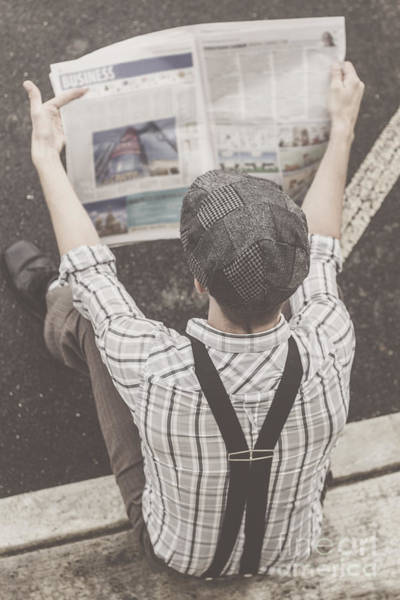 Tabloids Photograph - Vintage Businessman Reading Business News by Jorgo Photography - Wall Art Gallery