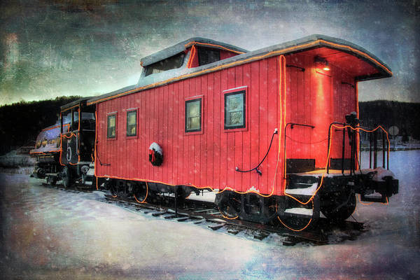 Photograph - Vintage Caboose - Winter Train by Joann Vitali