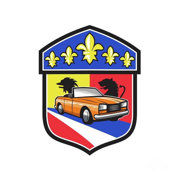 Fleur Digital Art - Vintage Cabriolet Fleur-de-lis Crest Retro by Aloysius Patrimonio