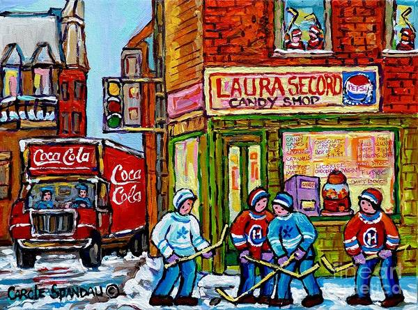 Painting - Vintage Candy Store And Coca Cola Truck Paintings Hockey Game At Laura Secord Montreal Winter Scene  by Carole Spandau