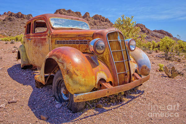 Wall Art - Photograph - Vintage Car In The Desert Hdr by Edward Fielding