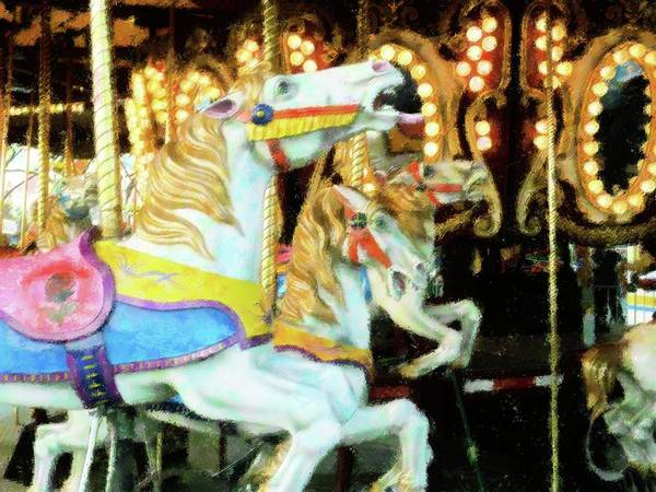 Carousel Mixed Media - Vintage Carousel by Florene Welebny