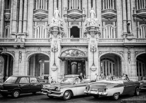 Photograph - Vintage Cars And The Grand Theatre Havana Cuba Bw by Joan Carroll